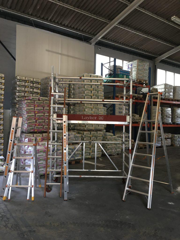 Présentation des produits Layher dans le dépôt CSF